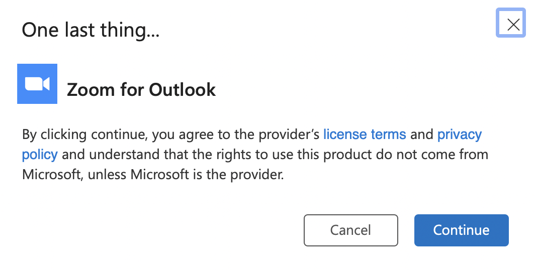 Continue Outlook Add-in
