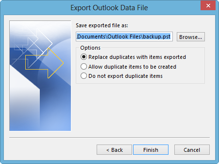 "This is a screenshot of the ""Export Outlook Data File"" window, with ""Documents\Outlook Files\backup.pst"" entered into the ""Save exported file as"" field."