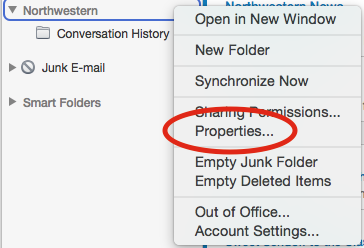 Here is an image of where to find the mailbox properties window. In the dropdown menu that appears after control-clicking the mailbox, the Properties button is the fifth option listed.
