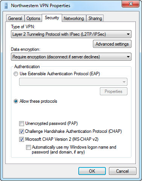 This image shows a screenshot of the 'Northwestern VPN Properties' windows 'Security' tab with the settings properly set up.