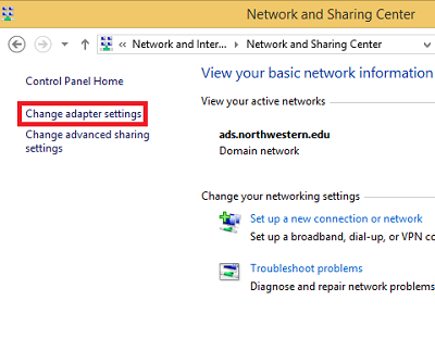 This image shows a screen shot of the Network and Sharing page, highlighting the change adapter settings option