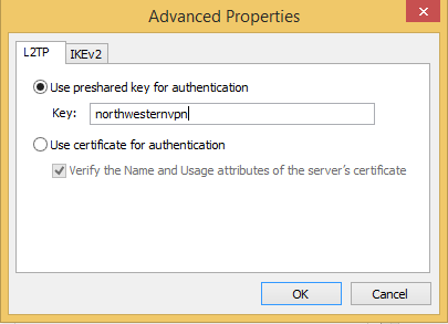 This image shows the prompt for the preshared key authentication under the Advanced properties window
