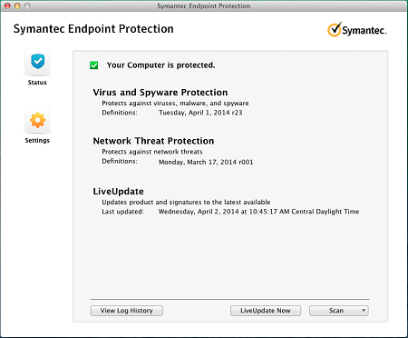 Symantec Welcome Page