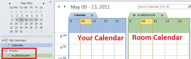 Here is a picture showing the calendar view once you have added the desired room calendar to your Outlook. On the left panel, you should check the room calendar under rooms. With this checked, you will see the two calendars side by side in the main view of the window.