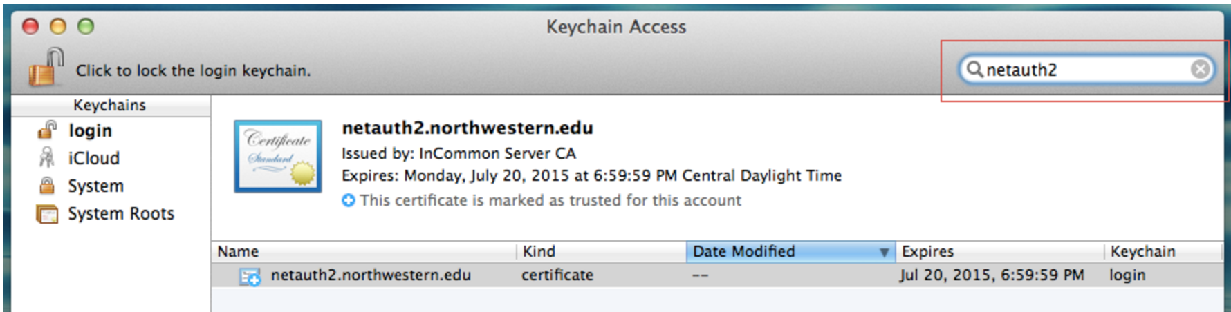 Image of the certificate on the keychain screen.