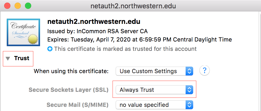 Netauth2 window with Trust triangle toggled open and highlighted, and Secure Sockets Layer (SSL) drop-down menu option chosen to Always Trust and highlighted.
