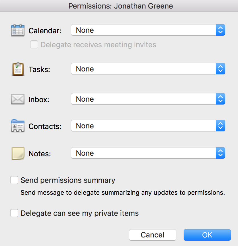 Permissions window with options to grant permission to Calendar, Tasks, Inbox, Contacts, Notes.