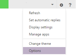 This image shows the location of the options menu in OWA. It is a gear icon located in the top right corner along the bar left of the question mark. After clicking on the gear, the Options menu is located at the bottom of the drop-down menu that appears.