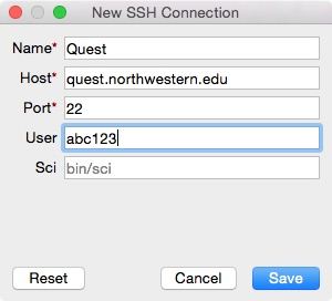 This is a screenshot of the SSH connection after the fields have been entered.