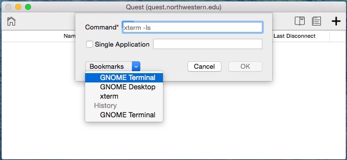 This is a screenshot of the Bookmarks pulldown menu listing the GNOME Terminal
