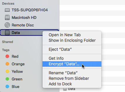This image shows a screenshot of the options available on data, highlighting the option to encrypt data