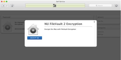 This is a screenshot of the NU FileValt encrypition prompt