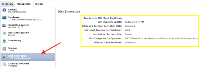 This image shows a screenshot of the inventory window where one can veiw the details for disk encryption, found on the left hand pane of the window