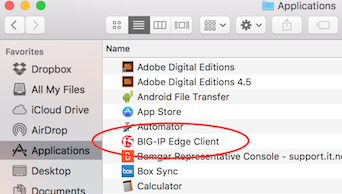 This image is a screen shot of the Big IP edge client listed in the applications folder