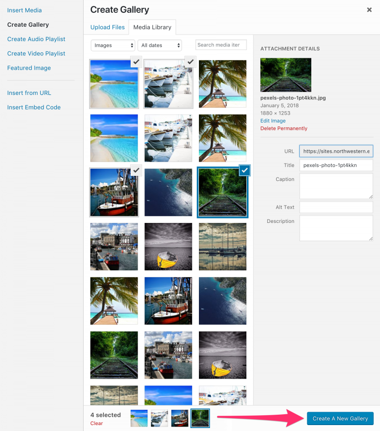 This image has a screenshot of the attachment details interface, where you can change the title, caption, and description for the image gallery.