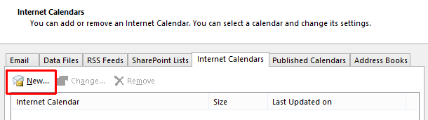 Here is a picture showing the Internet Calendars tab of settings. The New button is circled to show its location on the top right underneath the various tabs.
