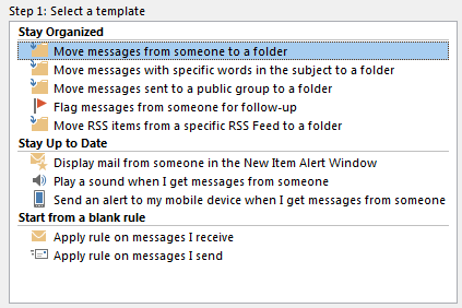This image shows the selection of move messages from someone to a folder form the select a template menu