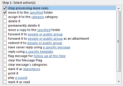 This image shows the selection of stop processing more rules and move it to the specified folder from the actions menu