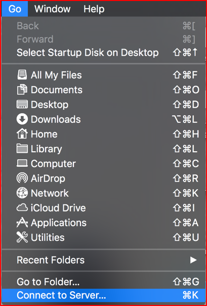 The dropdown menu in Finder that appears under the word GO. The last option in the menu is highlighted, which says Connect to Server