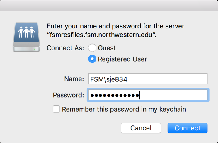 A security popup with four options. The first option is labeled Connect As, and is set to Registred User. The second and third options are for the username and password, and are filled in appropriately. The final option is a checkbox that says Remember this password in my keychain, which is unchecked.