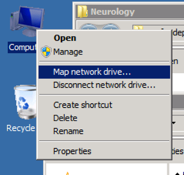 A dialog menu next to the Computer icon on the desktop, with the third option highlighted. The highlighted option says: Map Network Drive