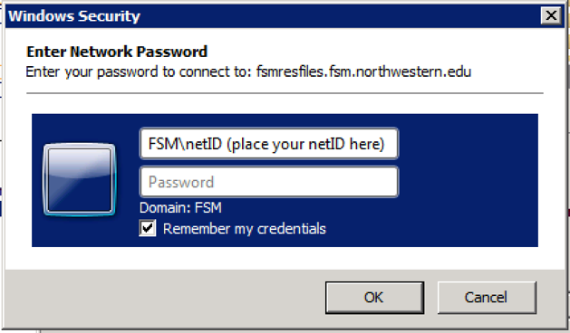 A Windows Security popup with text fields for username and password, and a checkbox labeled remember my credentials.