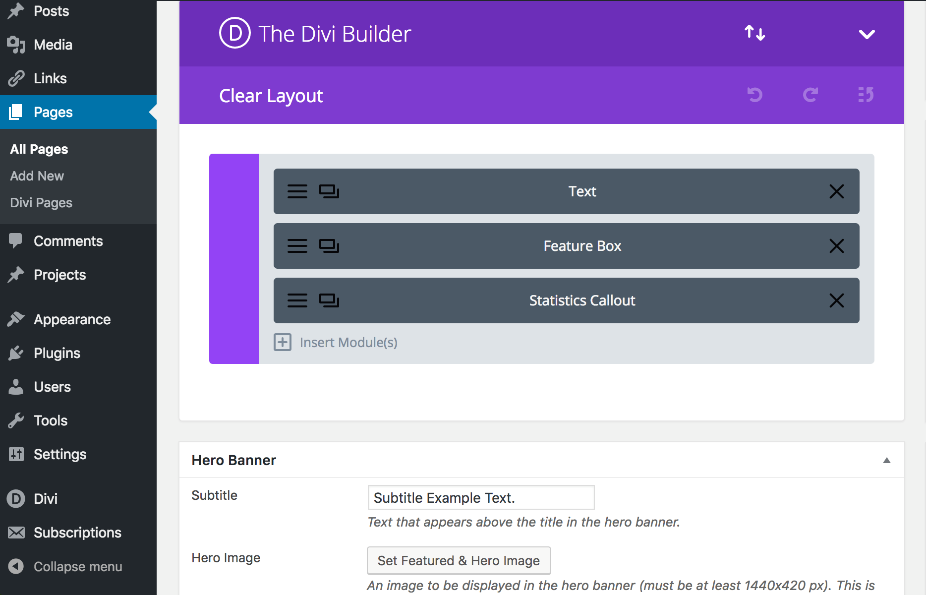 This image has a screenshot of the Divi Builder, with the Hero Banner section highlighted