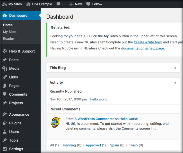 This image has a screenshot of the Wordpress Dashboard.