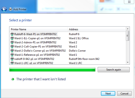 Select the printer that I want wasn't listed.