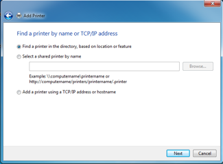 Select the Find a printer in the directory radio button and click Next.