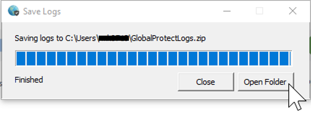 GlobalProtect Windows Settings Save and Open Logs
