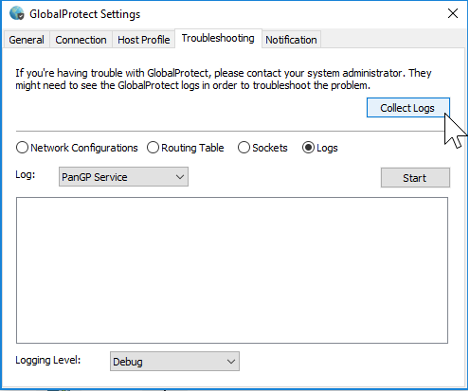 GlobalProtect Windows Settings Collect Logs