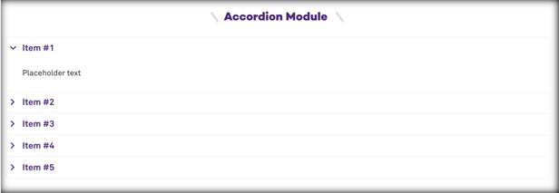 This image has a screenshot of the accordion module, with 5 items with toggles show, with item 1 expanded