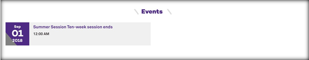 This image has a screenshot of the events feed module, with an event from a calendar shown
