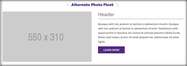 This image has a screenshot of the alternate photo float module, with space for a photo next to a paragraph of text