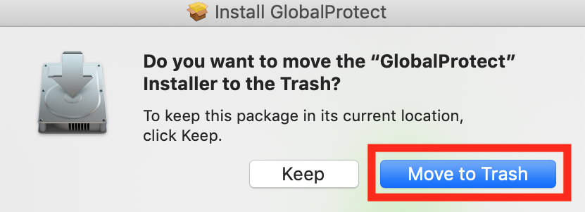 Move installer to trash