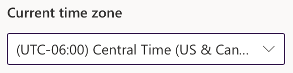 Time zone drop down menu