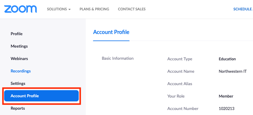 Zoom dashboard with Account Profile highlighted