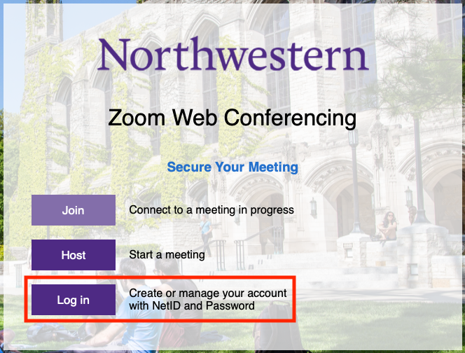 Northwestern Zoom login page