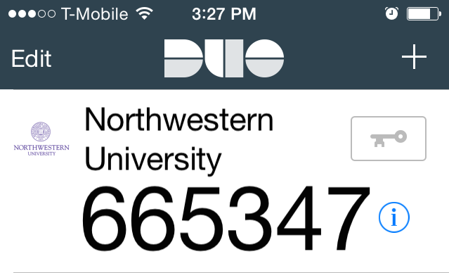 In the Duo Mobile app, the key icon is to the right of the Northwestern University logo, and underneath the plus sign