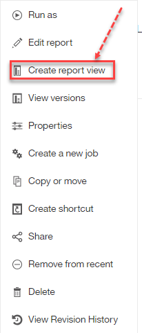 Create Report View