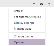 This image shows the location of the gear icon users must click to access OWA options. The gear icon is located in the top right corner next to the question mark. Options is the last item on the drop down menu.